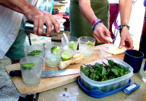 making the mojitos